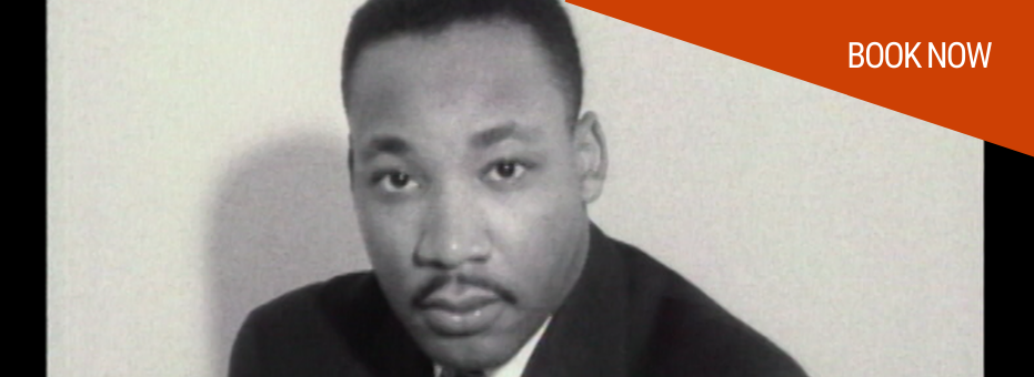 A black and white image of Martin Luther King