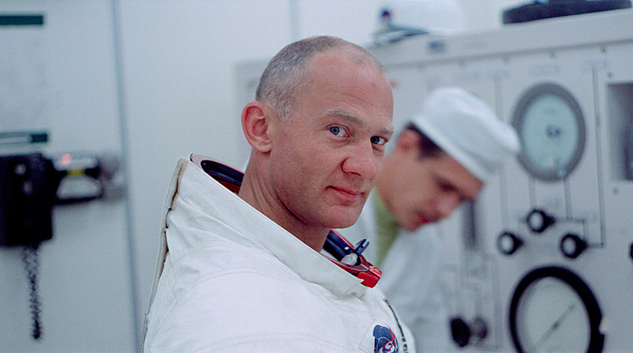 Photograph of astronaut Buzz Aldrin getting ready for the launch of Apollo 11. A still from the documentary Apollo 11.