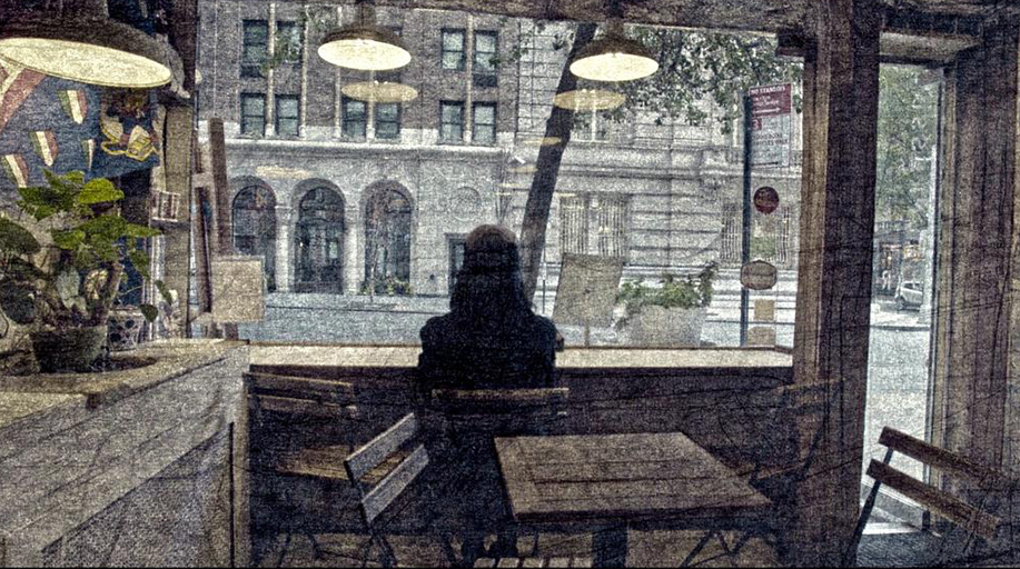 Illustration of the back of a woman sitting down and looking out of a window of a cafe onto a street. A still from the documentary Ferrante Fever.