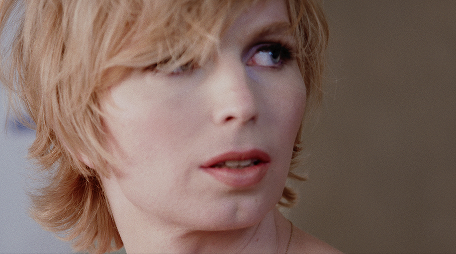 Close up still of the face of Chelsea Manning,  subject of the documentary XY Chelsea.
