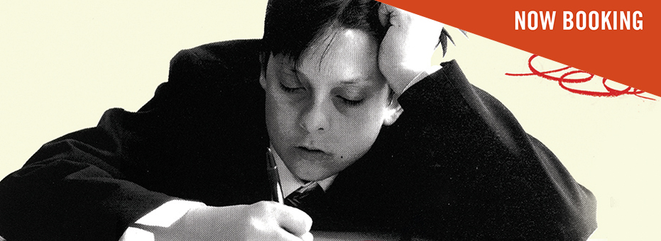 A stylised monochrome image of a young boy slouched over a textbook with a pen. His head rests despairingly against his hand. There's a cream background, with playful red squiggles on it. This artwork is from H Is for Harry.