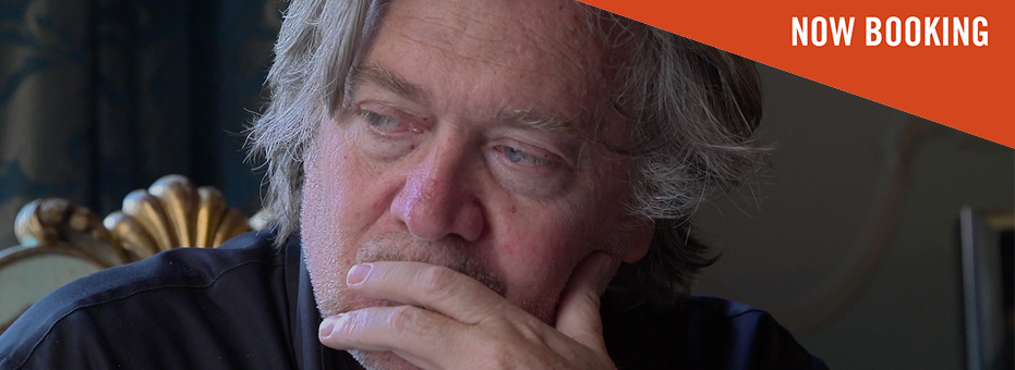 Steve Bannon, the far-right politician is looking away from the camera, his hand covering his mouth. This is a still from the documentary The Brink.